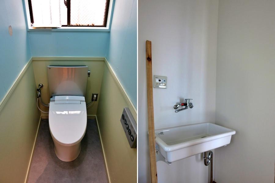 共有部分のトイレと手洗いシンク
