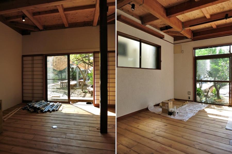 1階の各室の天井入りの写真|左:会議室|右:オフィス