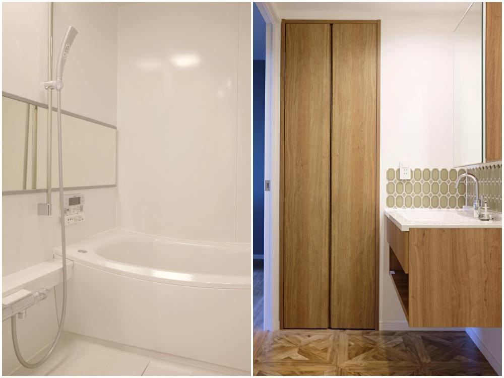 浴室。給湯は電気温水器です/洗面脱衣室