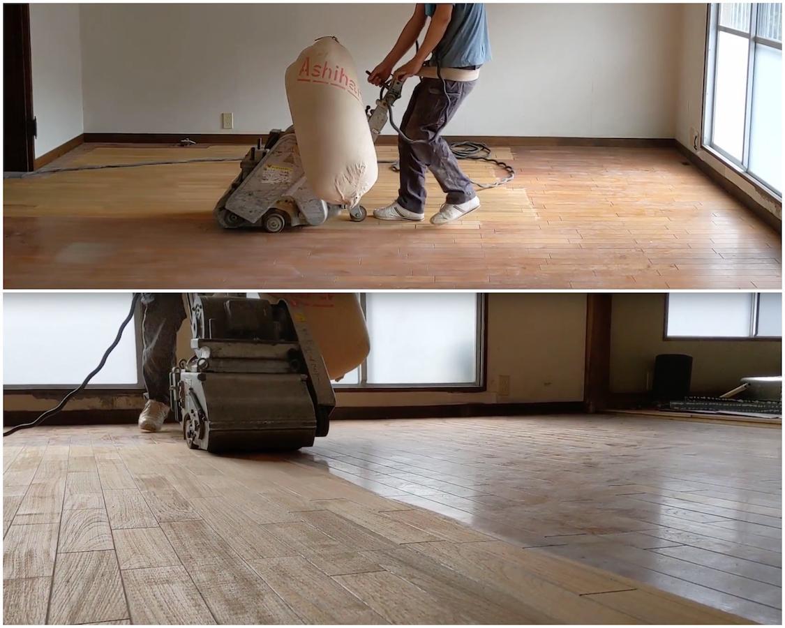 大きな床面を一気に削って新品の床を再現!