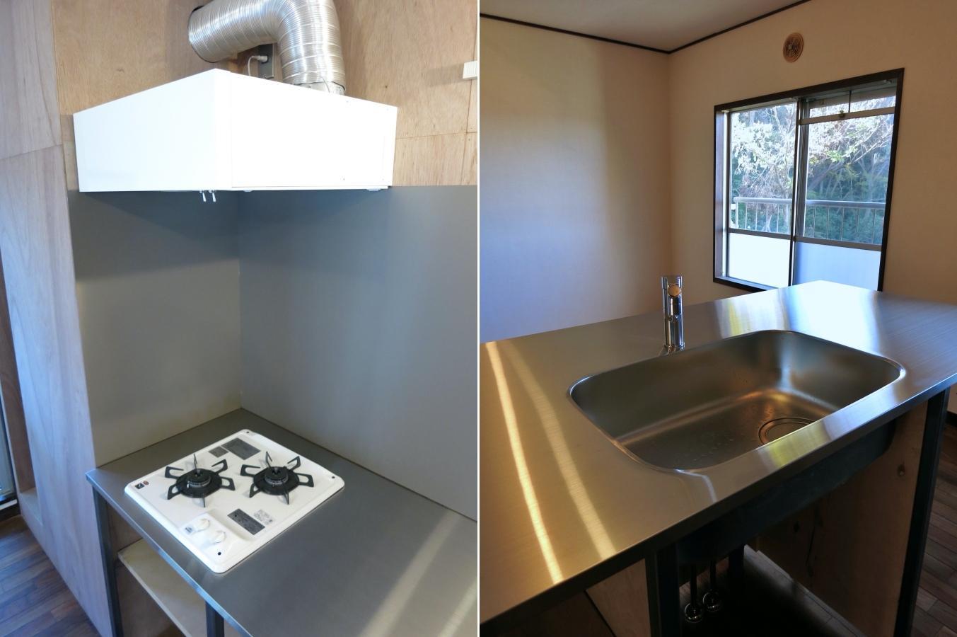キッチンは2口コンロとtoolboxを組み合わせてアレンジ