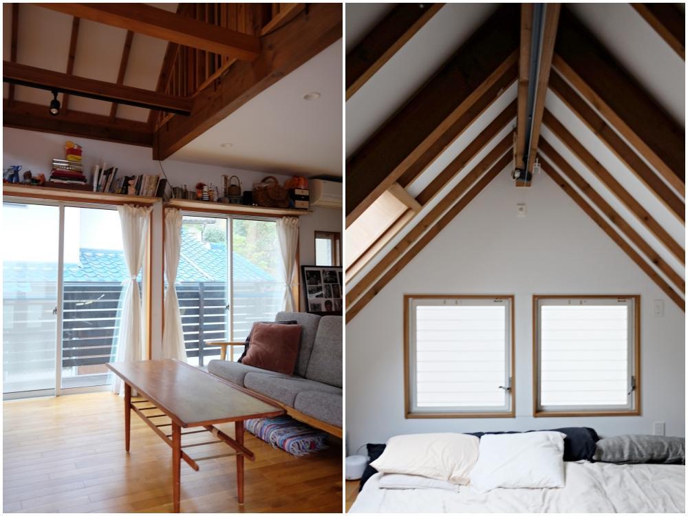 左)リビングのサイドは、ウッドテラス 右)3階の山小屋感。