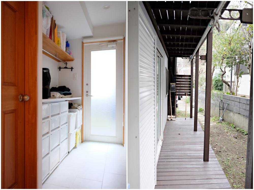1階 個室から直接アプローチできる納戸と、納戸を出るとウッドデッキ