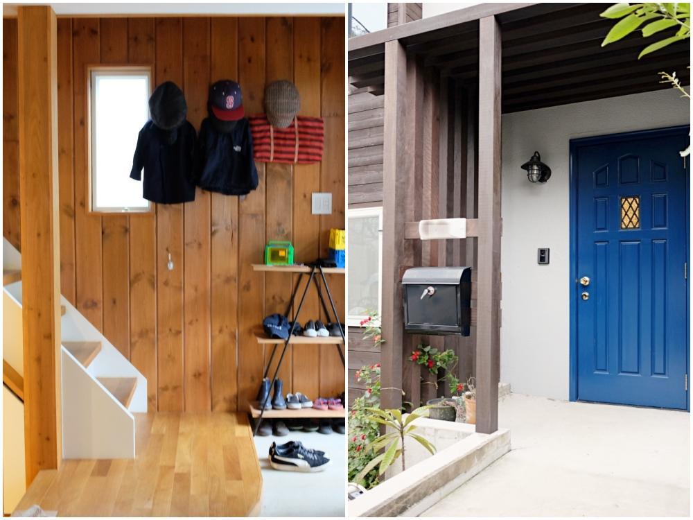 左)玄関ドアを開けるとまっすぐリビングへ続く階段 右)青い扉と板貼の外観。照明やポストなどパーツも抜かりなし