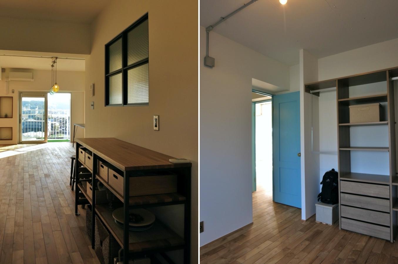 左:キッチンの背面|右:5.3帖の洋室
