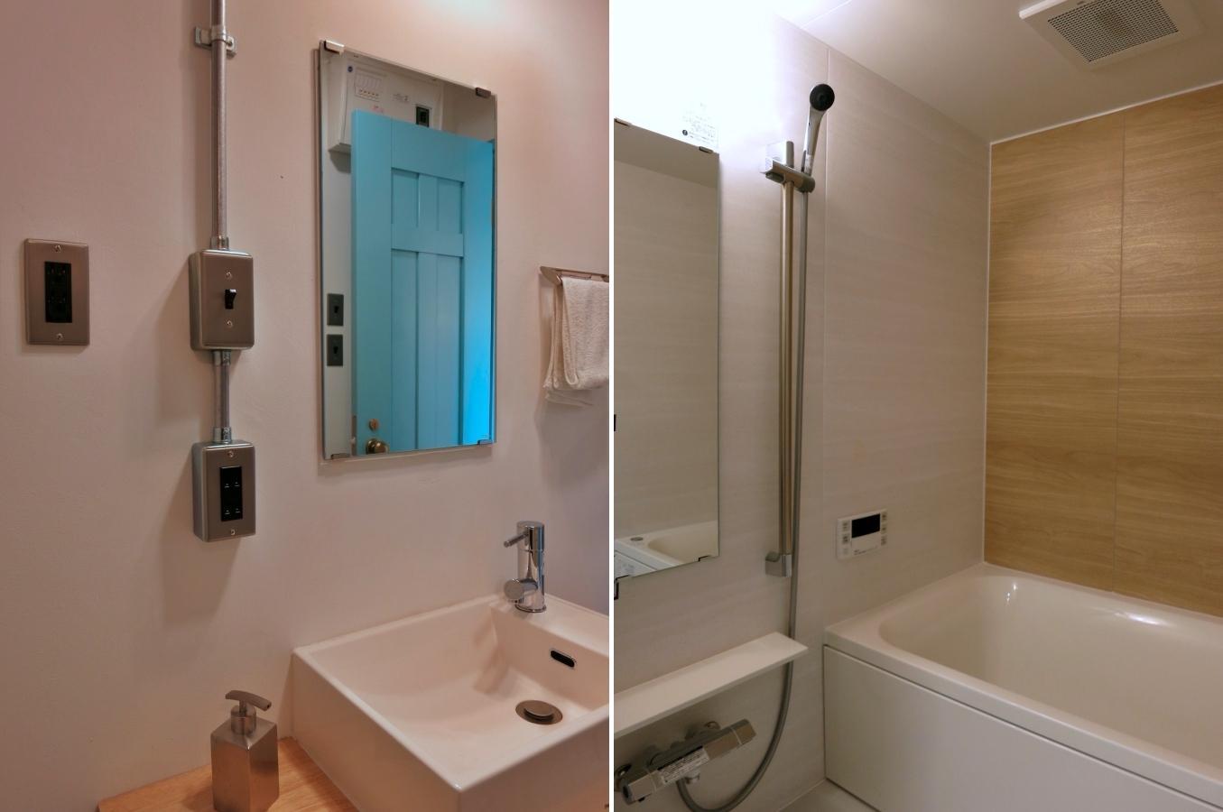 洗面室も見所あり|浴室はユニットバスの正統派