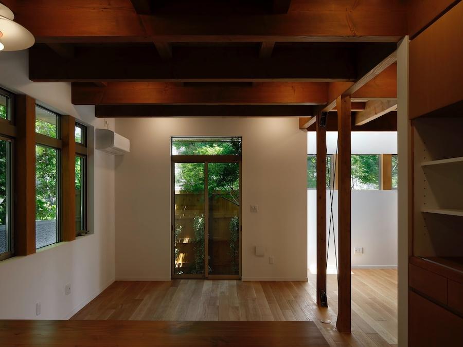 食堂を台所から見る|濃い緑に包まれる