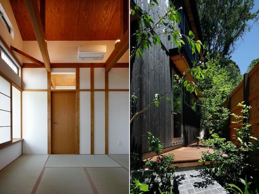 左:2階の8畳和室|右:Hall・Livingとつながる庭