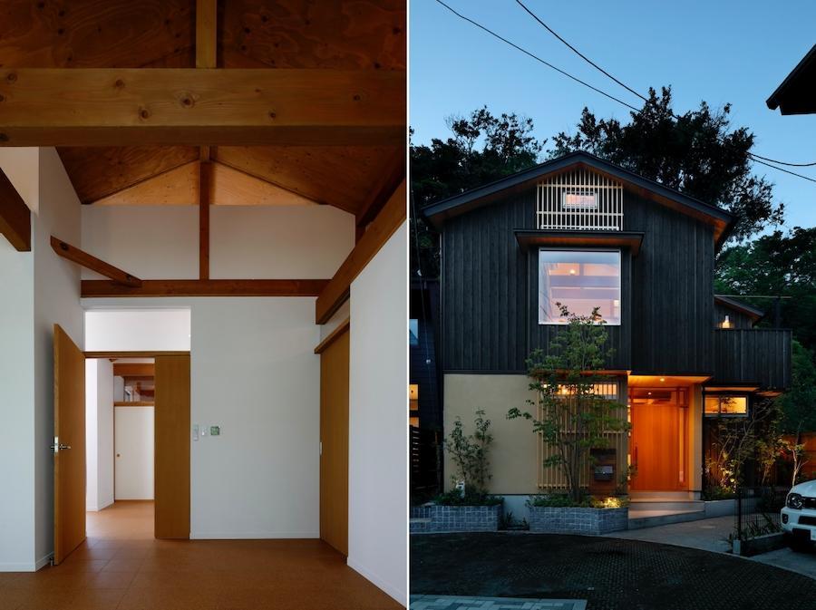 左:寝室よりHallを見る|右:夕景全景