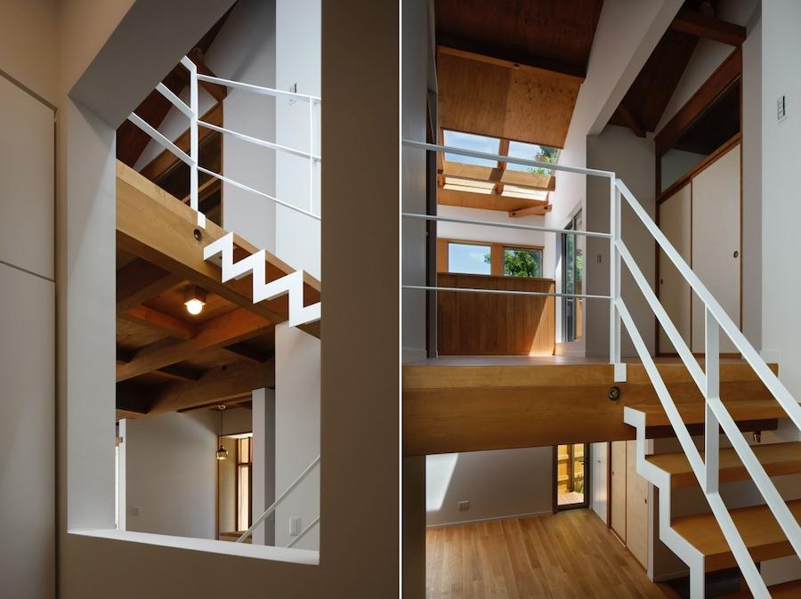 階段はキッチンからも気配を感じることができる