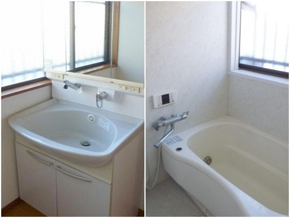 洗面台とユニットバス。トイレも設備はとてもきれいです。