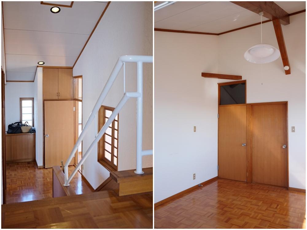 左)2階のホールから玄関を見下ろす|右)2階洋室