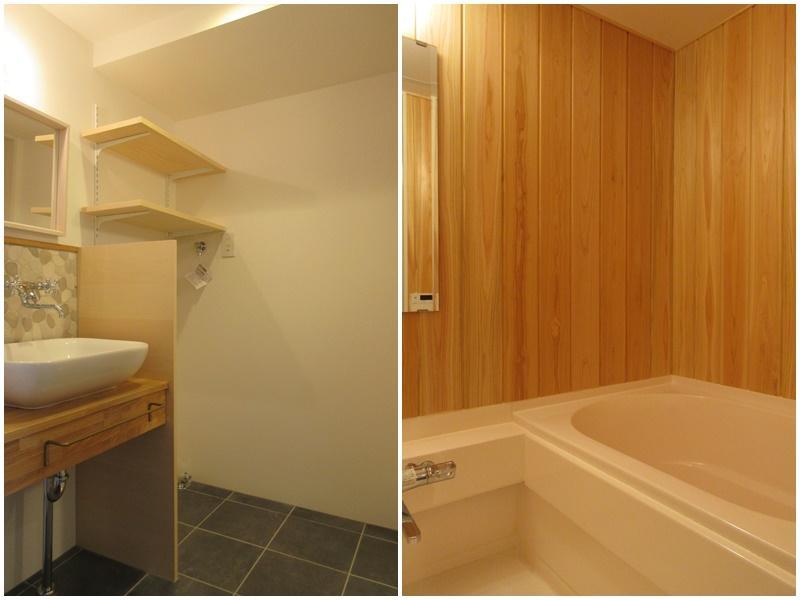 脱衣所は広め 浴室の壁はサワラの木