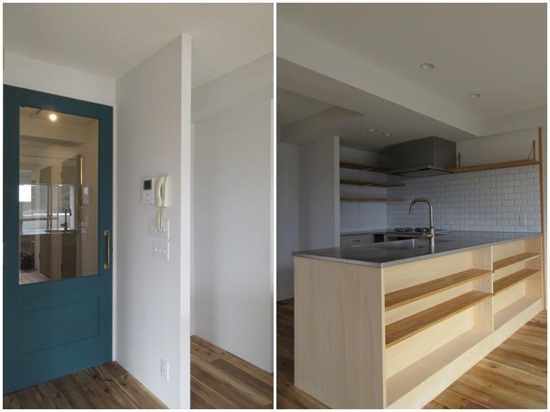 ドアのカラーもいい キッチンカウンターには収納もあり
