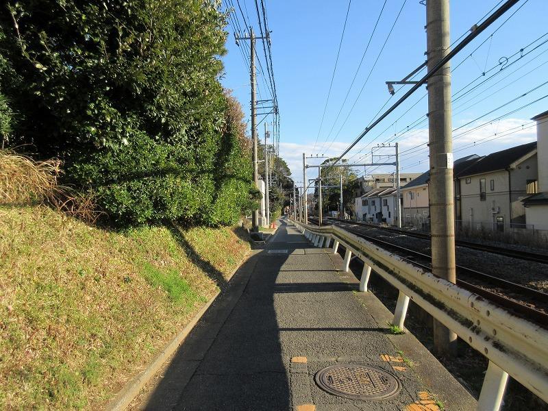 物件の前の道路。線路沿いです