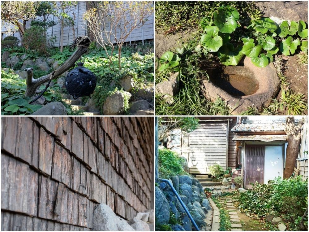 左上から)枝に吊るされた外灯→手水鉢→庭の隅に籠りたくなる庵→樹皮仕上げの外壁