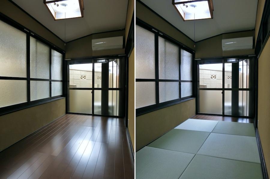四畳半の空間は敷き畳で和風にも洋風にも