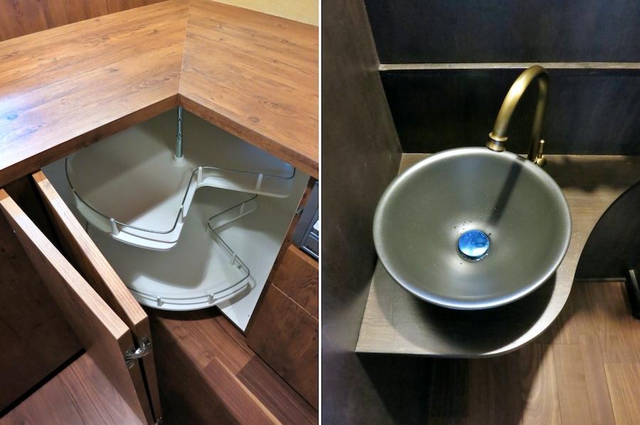 キッチンのL字部分の工夫|手洗いは遊び心