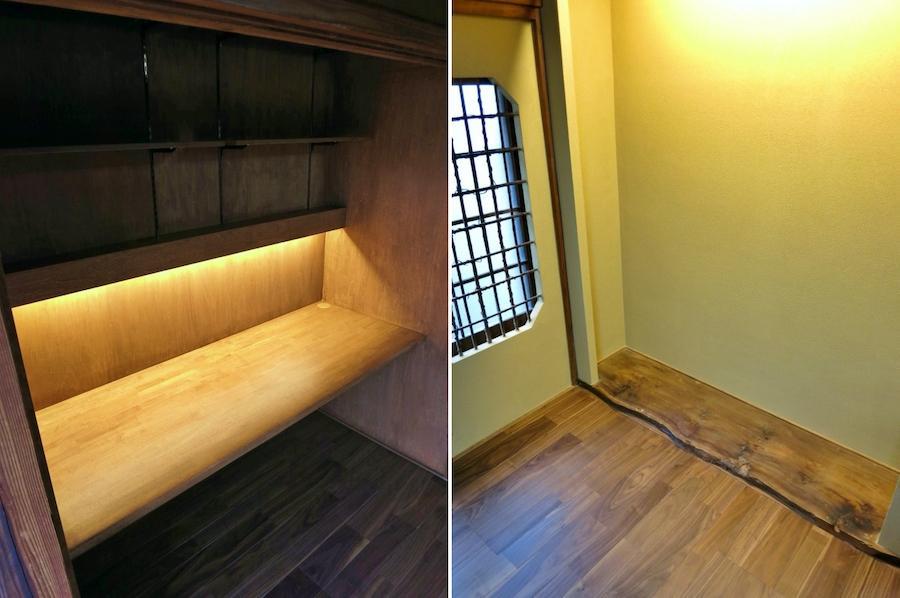 左:新設のデスク|右:床の間はオリジナルを活かす