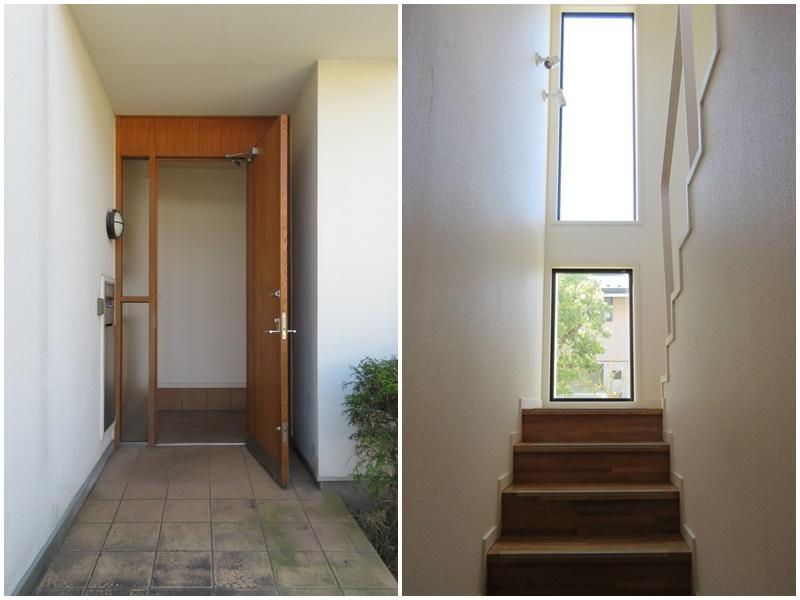 玄関前のスペースも広め|階段の窓が気持ちいい