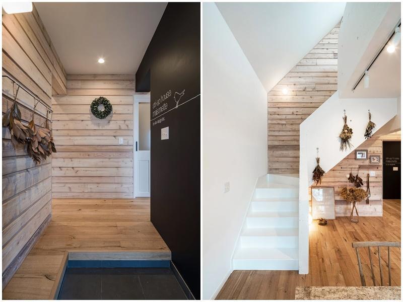 玄関は靴箱がないので、ご自身で造作など|ロフトへの階段
