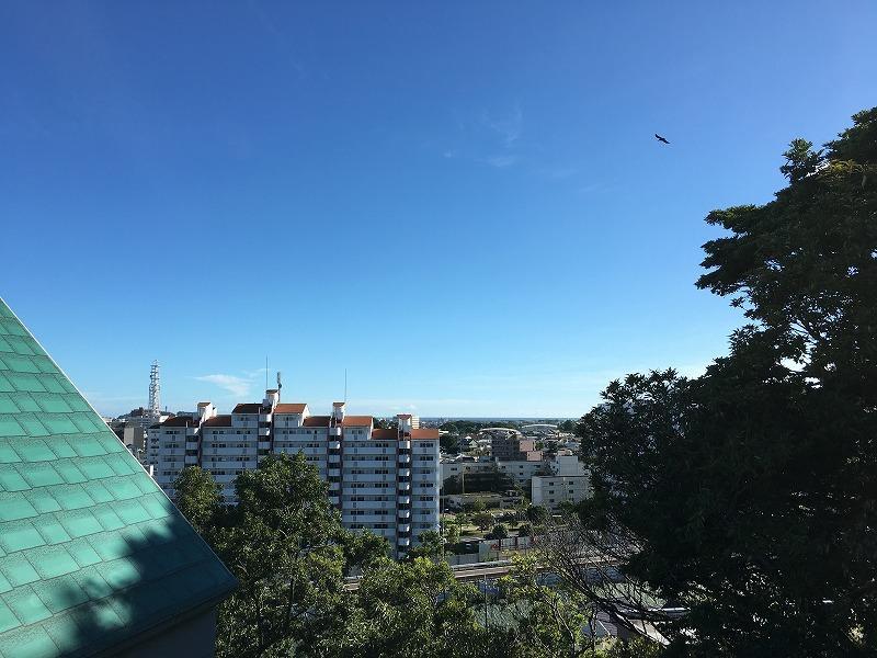 ルーフバルコニーからの眺望。遠くに水平線が見える