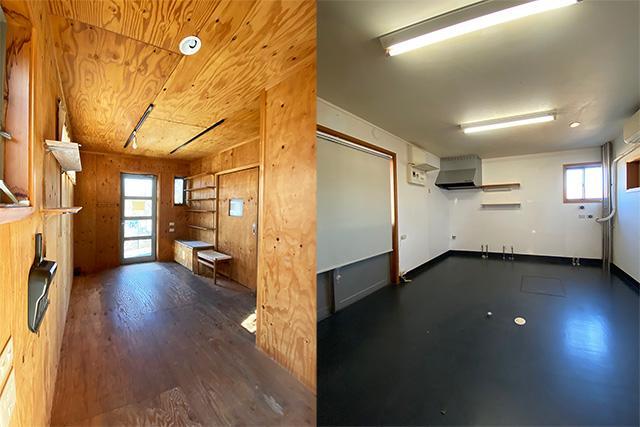 左:玄関兼元販売スペース 右:元パン工房、給排水、ガス施設はいきてます