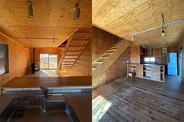 左:1階住居用キッチンシンクから南側 右:南側からキッチン方向