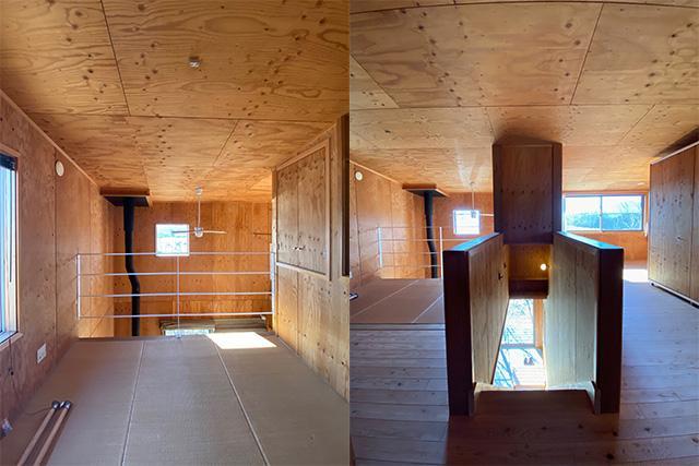 左:2階東側には畳の空間も 右:建物中央の階段、2階の空間はなんとなく3つに仕切られます