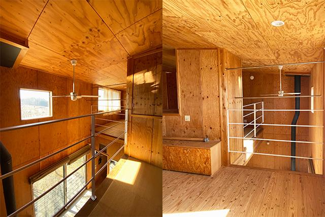 左:2階東側畳空間から南西方向 右:2階西側から東側方向、ね、煙突効いてるでしょ