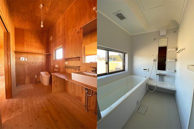 左:洗面室、左奥が洗濯機置き場 右:浴室、この窓からの八ヶ岳がやばいんです