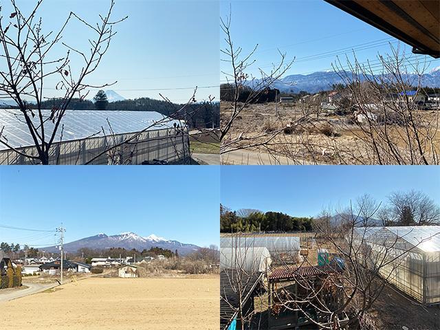 2階から眺められる山々、左上から時計回りに、富士山、南アルプス、茅ヶ岳、八ヶ岳
