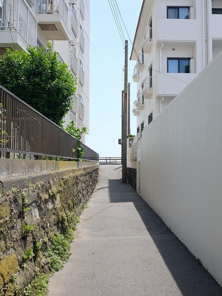 マンションの横を歩いて海岸通へ。砂浜へはまた別ルートで。