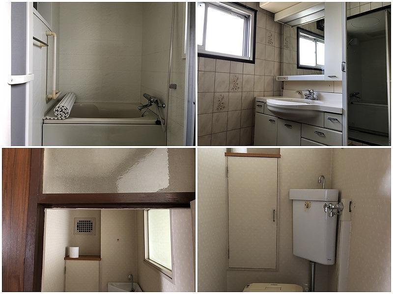 左下の写真はトイレには外に向いた窓がないので、浴室から明かりを取っています。
