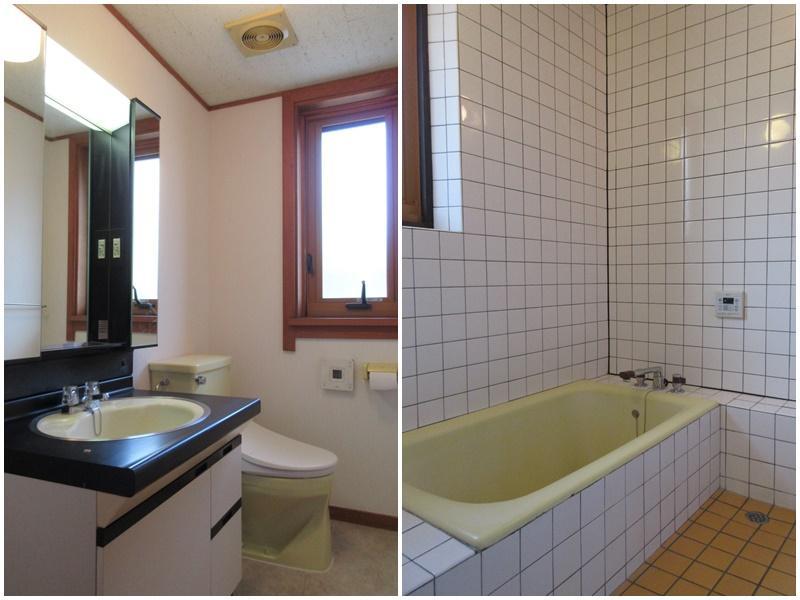 1階のトイレと洗面|浴室もレトロ
