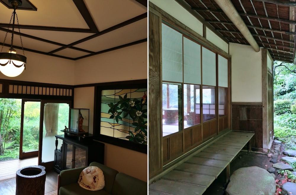 左:唯一の洋室応接間|右:茶会に使える北側縁側