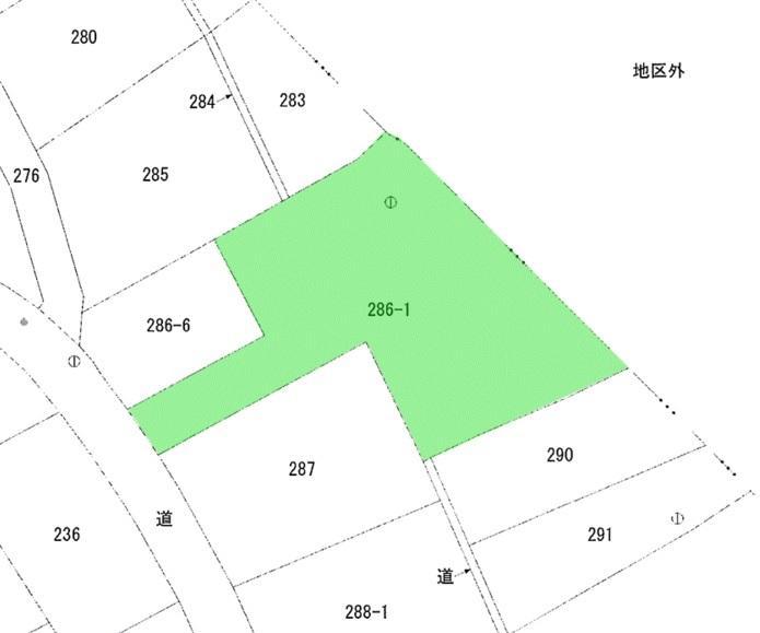 緑の部分が敷地です。約290坪。