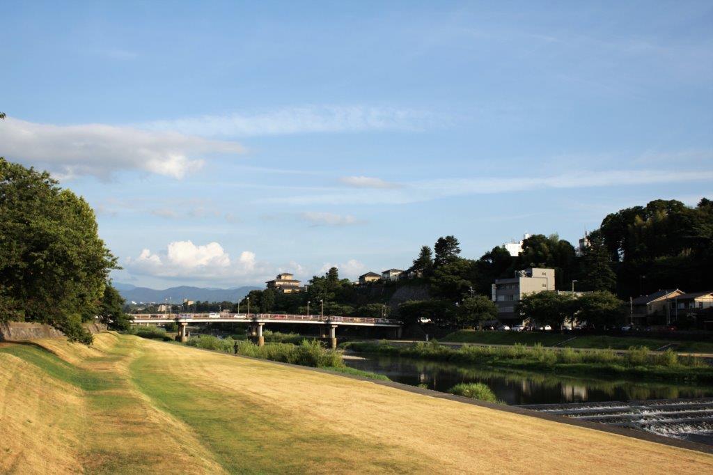 近くの犀川緑地からの風景