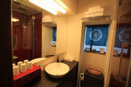 1階洗面台と脱衣所を兼ねたバスルーム。シャワータワーがあります。