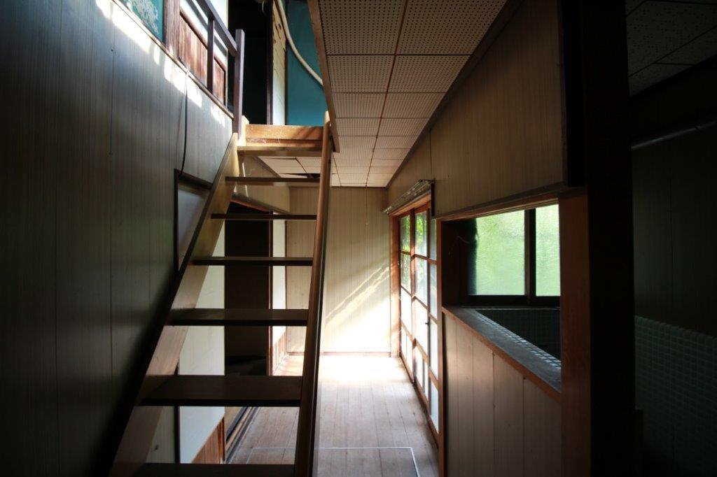 庭からの光が気持ち良い1階奥の階段と廊下。階段は1階手前にもあります。