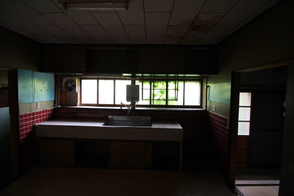 1階奥の台所。キッチンと窓とツタの緑。コントラストがかっこよい。