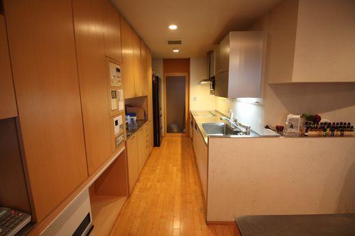 壁型のキッチンは海外製ステンレス天板でバッチリ。