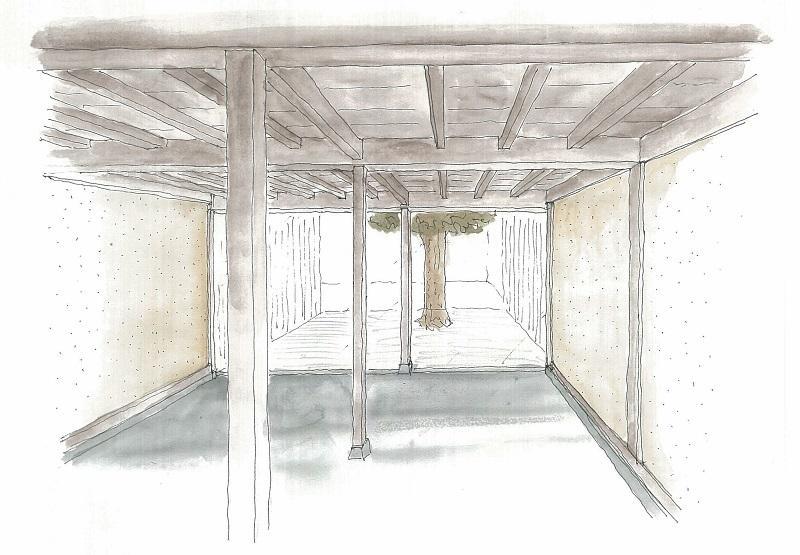 改修後イメージ。柿の木が立つ建物裏のスペース(緑化予定)が見えるようにすると、空間に抜けが生まれます。