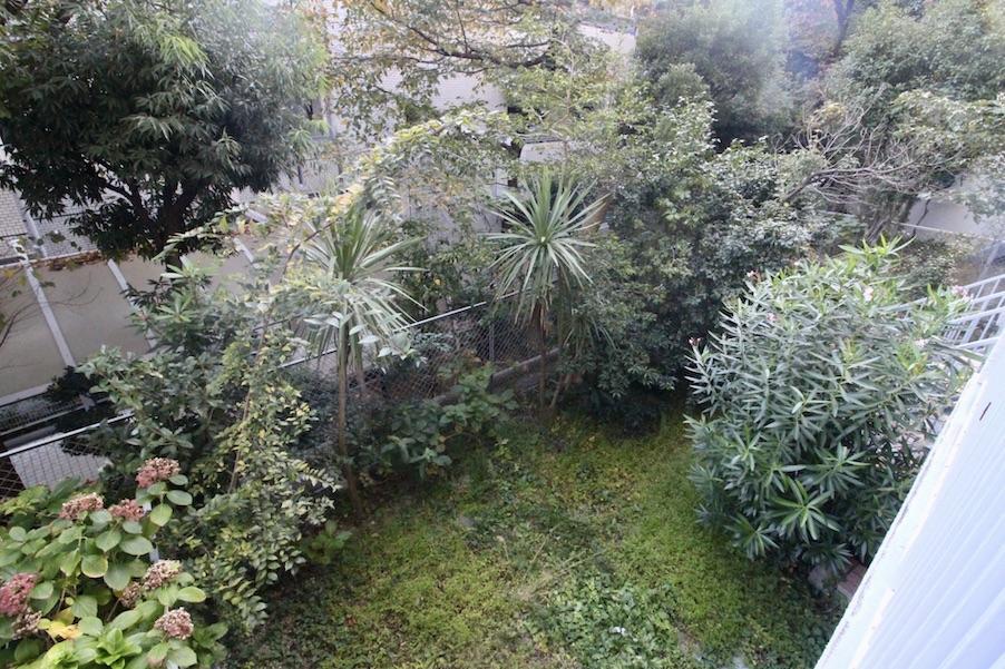 バルコニーから専用庭を見下ろす