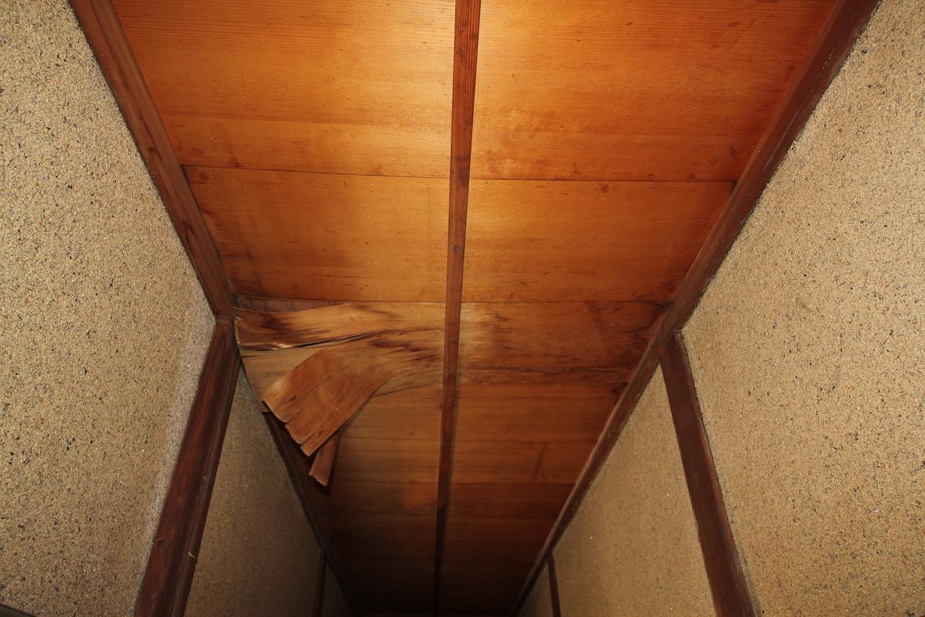 天井部分には雨漏れの跡アリ