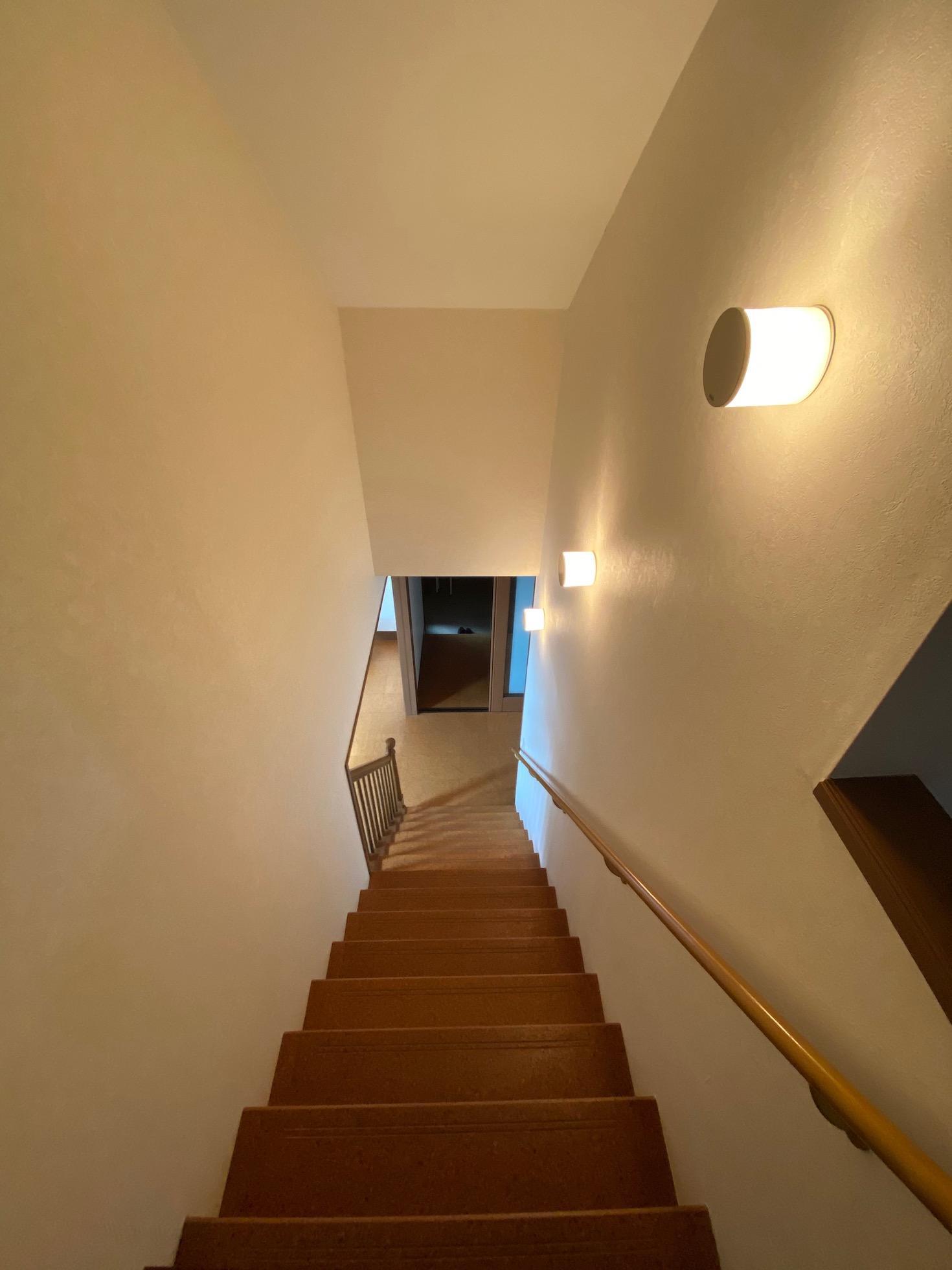 木の踏面にボワっとした光が落ち着く階段スペース。