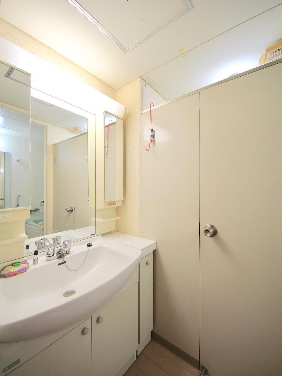 洗面 昔ながらのトイレ扉が可愛い