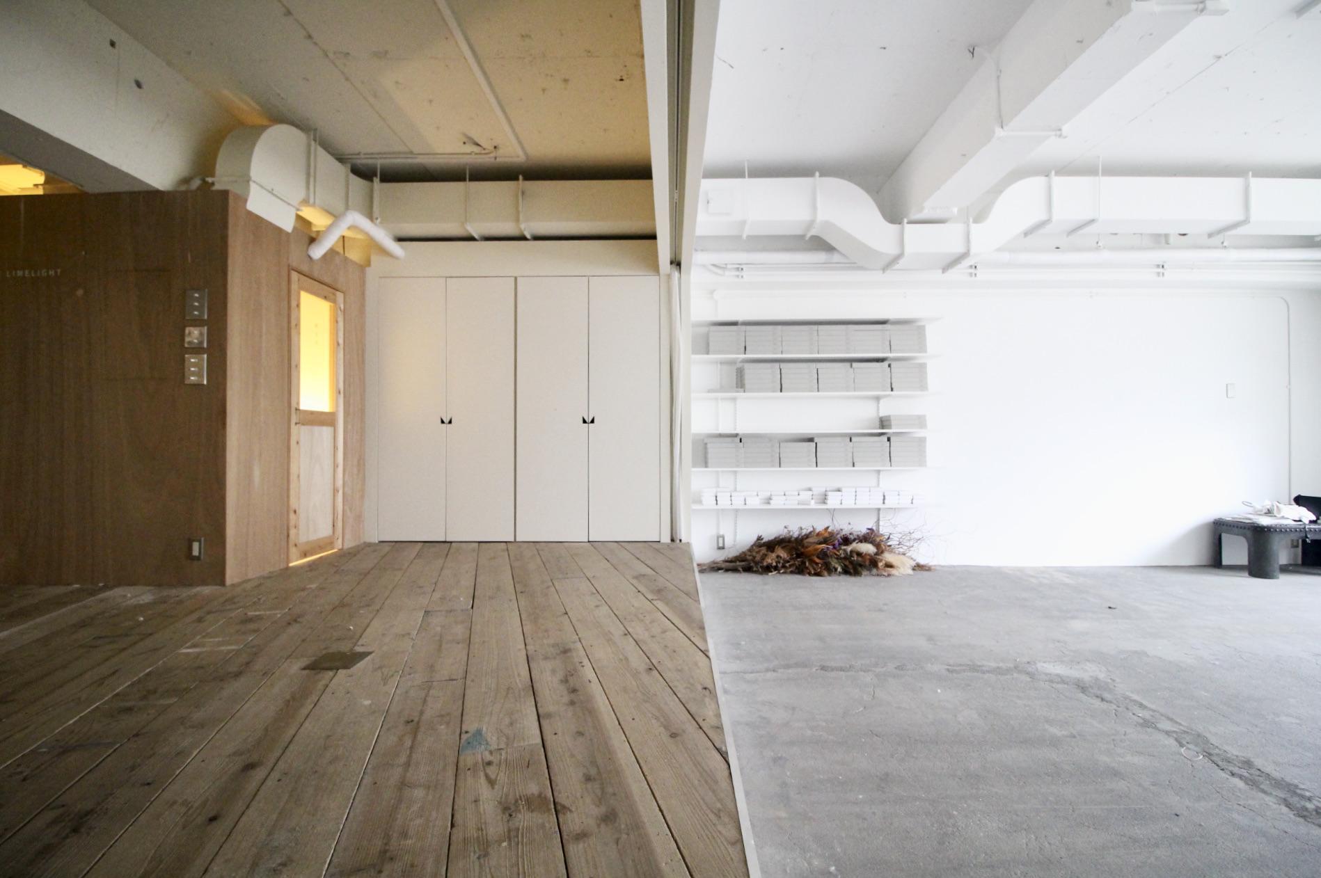 足場板と土間の空間で空気感がさらっと変わる