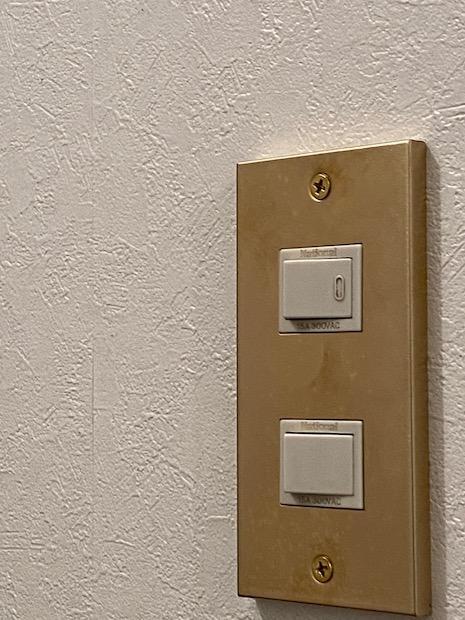 鈍い銅色に光るスイッチプレートの質感に魅せられました。