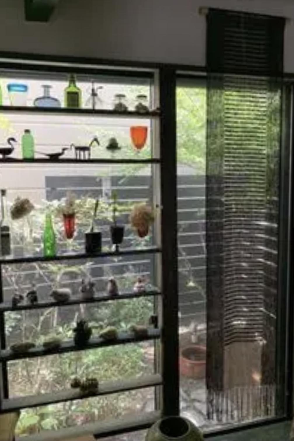小さな庭へつながる窓にはお気に入りの飾りを